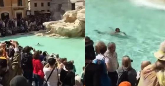 Гол пливал во градската фонтана  Се обидел да избега  па повредил полицаец