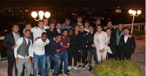 Франческо Тоти на проштална вечера со соиграчите