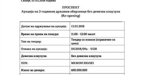 Утре ново задолжување од 93 милиони евра